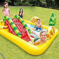 Детский надувной игровой центр бассейн с горкой Intex 57158 (244 x 191 x 91 см) Веселый Фрукт