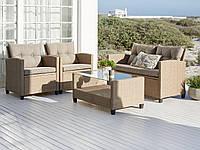 Большой комплект садовой плетенной мебели (2 кресла, диван и столик из петана) натура