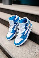 Кроссовки мужские весенние осенние качественные модные Найк Air JORDAN 1Off-White 1 Blue