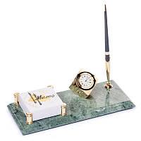 Мраморная настольная подставка с часами для ручки и с фиксатором для бумаг 24х12 BST 540070
