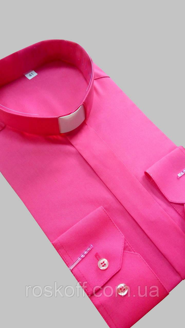 Рубашка для священников  малинового цвета с длинным рукавом