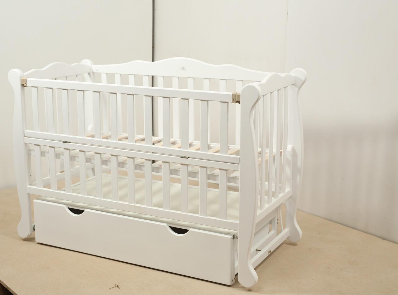 Кровать «NATALI» на подшипниках с откидной боковиной с ящиком (600 * 1200) (Белый)