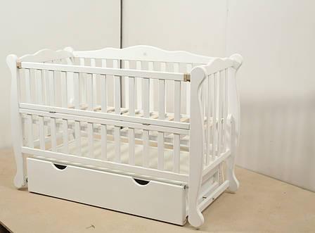 Кровать «NATALI» на подшипниках с откидной боковиной с ящиком (600 * 1200) (Белый), фото 2