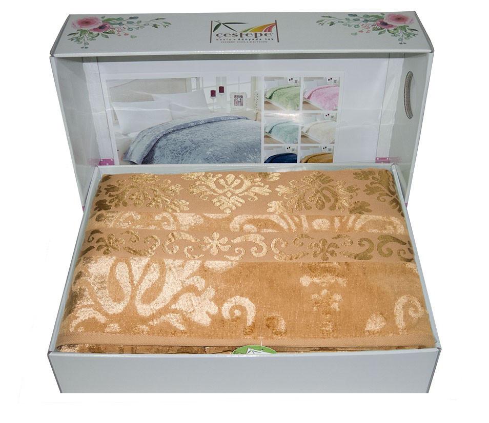 Велюровая махровая простынь Cestepe Bamboo Gold 200х220