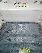 Велюровая махровая простынь Cestepe Bamboo Blue 200х220, фото 3