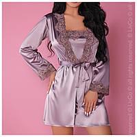 Атласный халат пеньюар - комплект, Польша, Livia Corsetti, цвет лиловый, фото 1