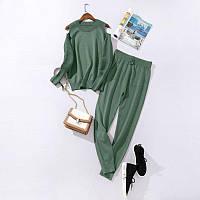 Костюм женский трикотажный  двойка  кофта и штаны весенний, светло зеленый  M\L, фото 1