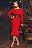 Трикотажное облегающее платье с втачным поясом и с воланом на подоле