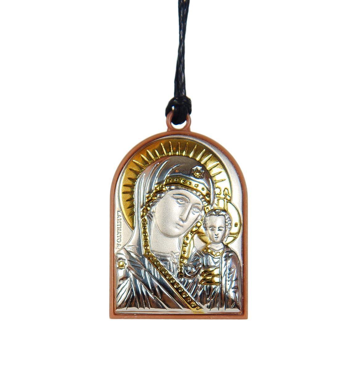 Серебряная иконка на подвеске  в автомобиль ( серебро ) 40х56мм Казанская Божья Матерь