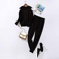 Костюм жіночий трикотажний двійка кофта та штани весняний, чорний M\L