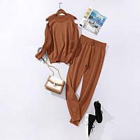 Костюм жіночий трикотажний двійка кофта та штани весняний, коричневий M\L