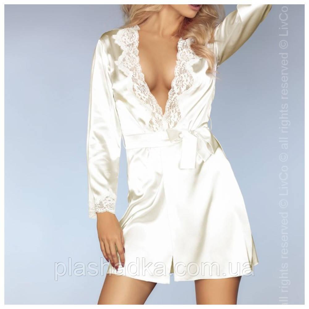 Атласный халат пеньюар - комплект, Польша, Livia Corsetti, цвет молочный