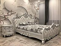 Резная белая кровать из натурального дерева