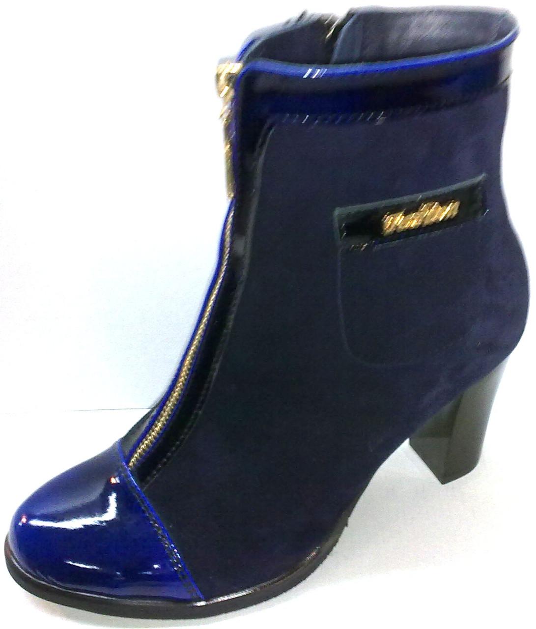 Ботинки на каблуке с декором - кармашек