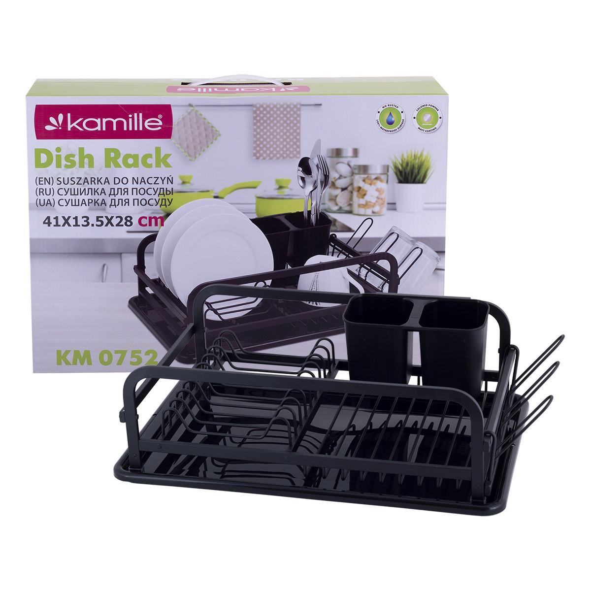 Сушилка для посуды Kamille Размеры: 41*28*13,5см. см из алюминия с поддоном KM-0752