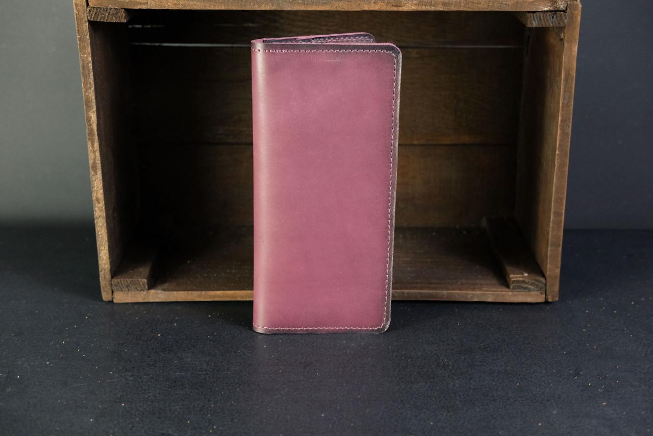 Кошелек клатч Лонг на 8 карт Кожа Итальянский краст цвет Бордо