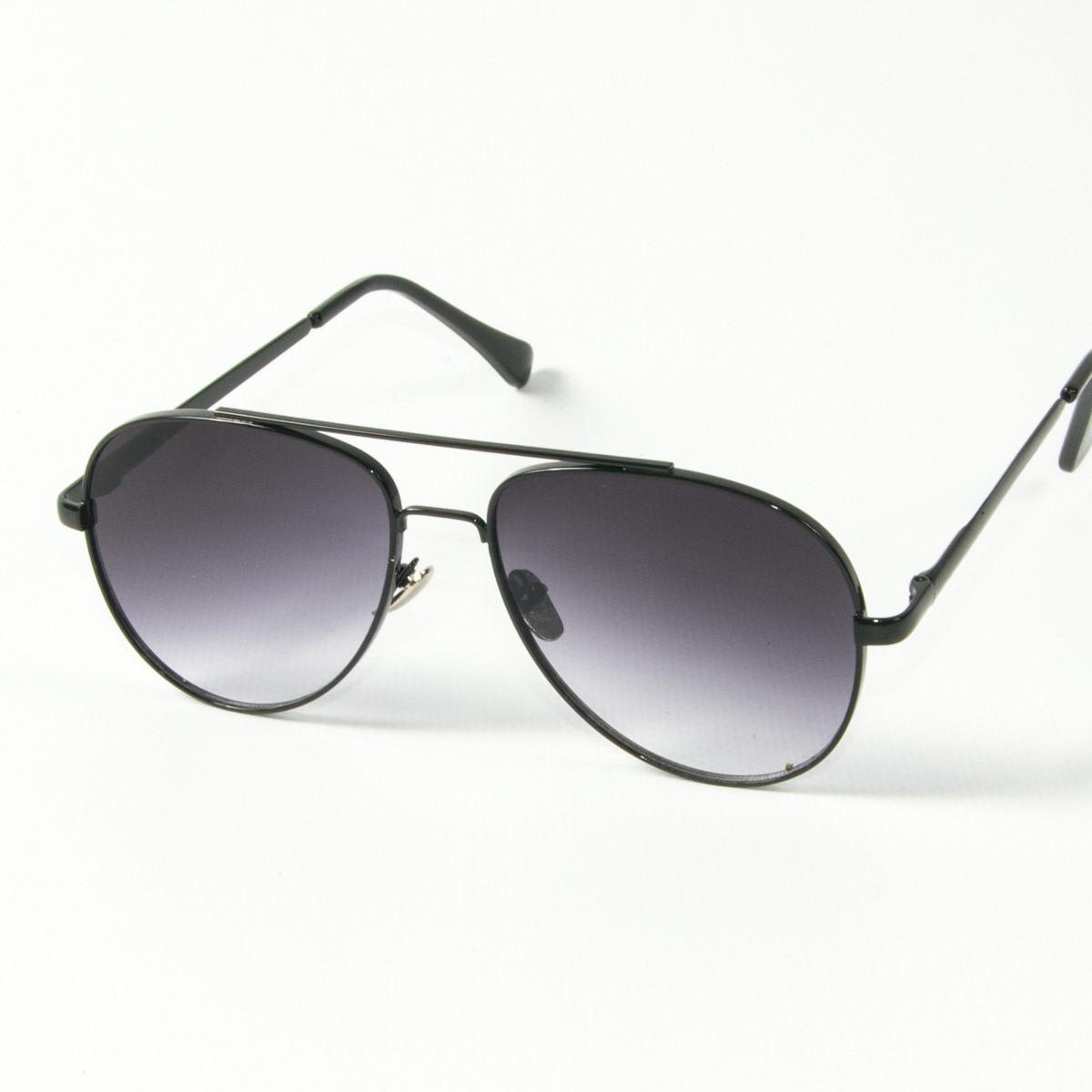 Солнцезащитные очки авиаторы (арт. 80-666/2) черные с черной оправой