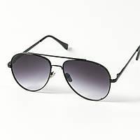 Солнцезащитные очки авиаторы (арт. 80-666/2) черные с черной оправой, фото 1
