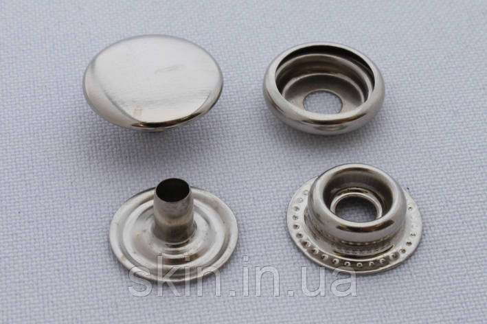 Кнопка каппа, диаметр 15 мм, цвет - никель, в упаковке - 20 шт., артикул СК 5609, фото 2