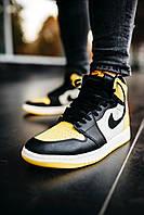 Кросівки чоловічі весняні осінні якісні модні Найк Air JORDAN 1 Mid Yellow Black, фото 1