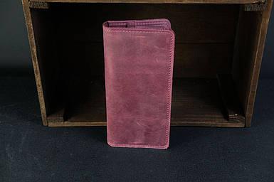 Кошелек клатч Лонг на 8 карт Винтажная кожа цвет Бордо