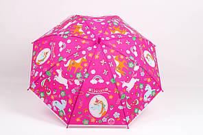 Детские зонты  Зонт детский Единорог малиновый Диаметр купола 114.0(см)/ Длина спицы 47.0(см)/ Длина в сложенном виде 66.0(см) (RST-082)