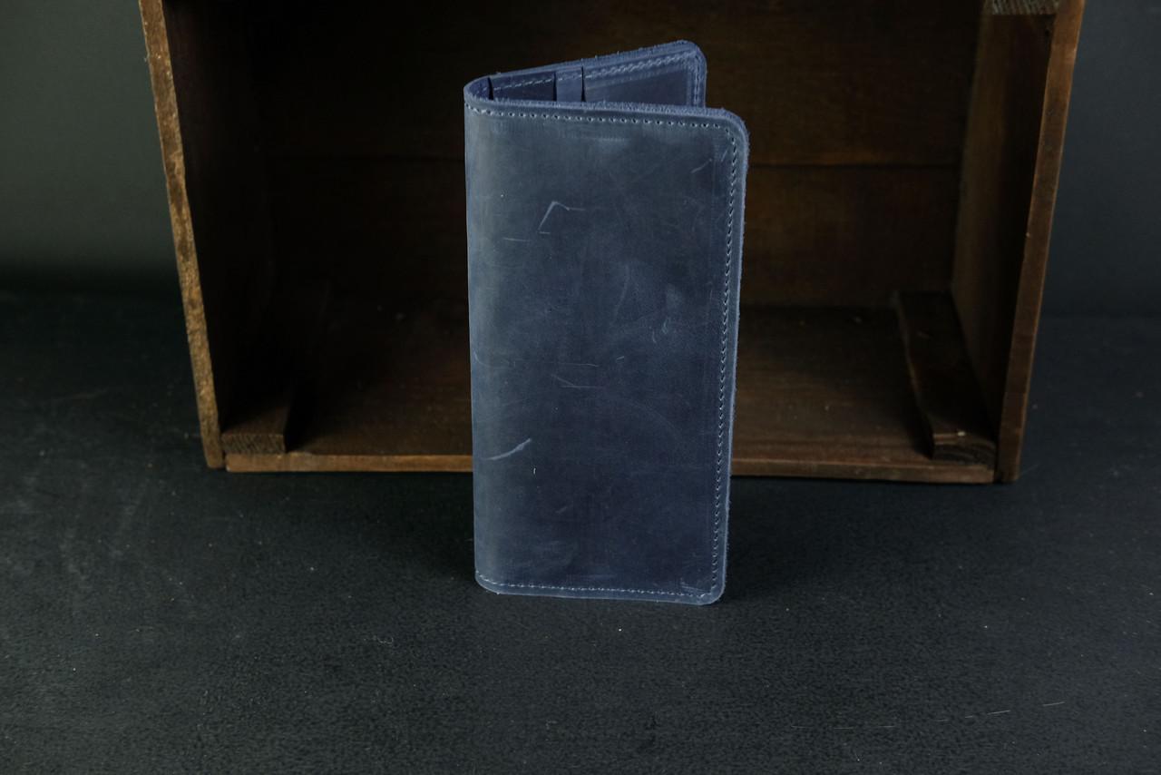 Гаманець клатч Лонг на 8 карт Вінтажна шкіра колір Синій