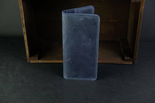 Гаманець клатч Лонг на 8 карт Вінтажна шкіра колір Синій, фото 2