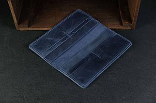 Гаманець клатч Лонг на 8 карт Вінтажна шкіра колір Синій, фото 3