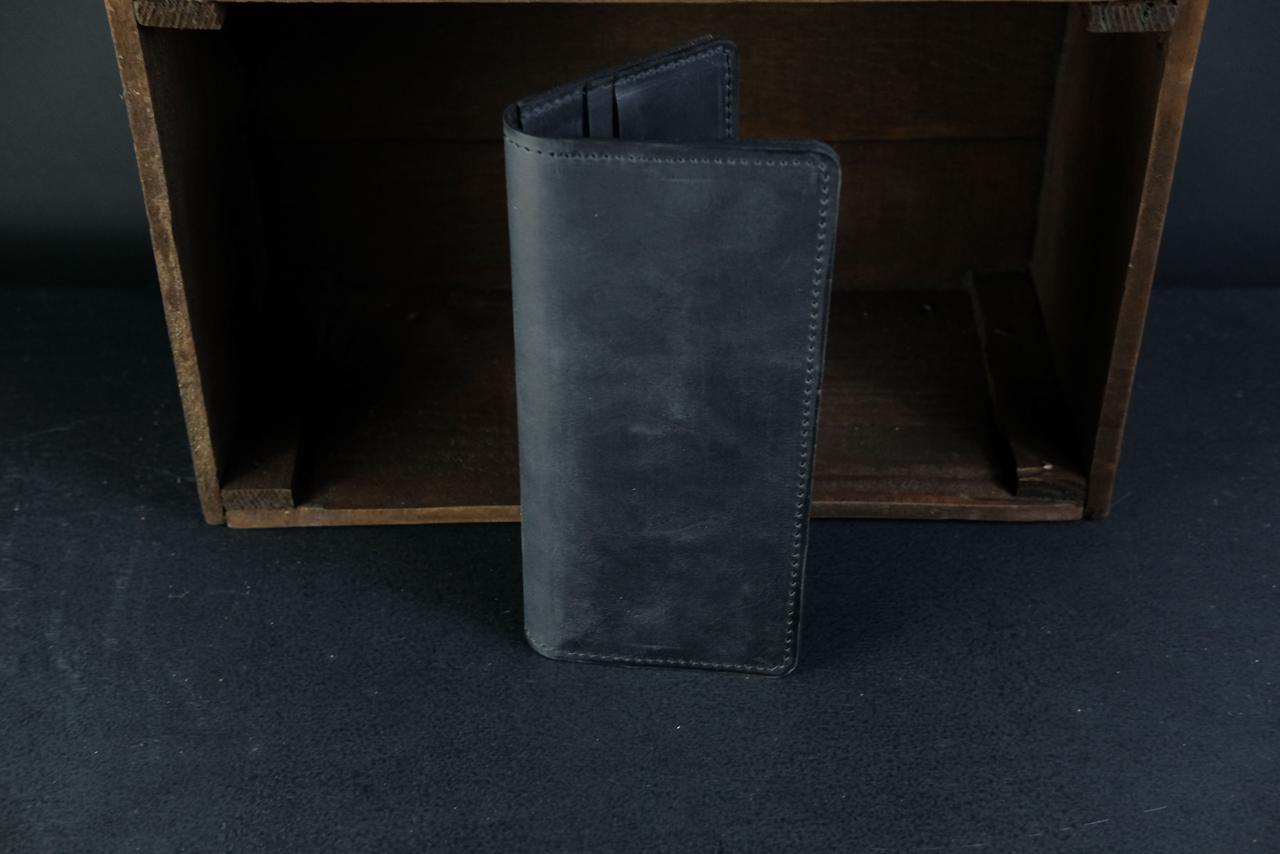 Кошелек клатч Лонг на 8 карт Винтажная кожа цвет Черный
