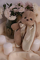 Коричневый декоративный заяц ушастик Биг с бежевым бантиком