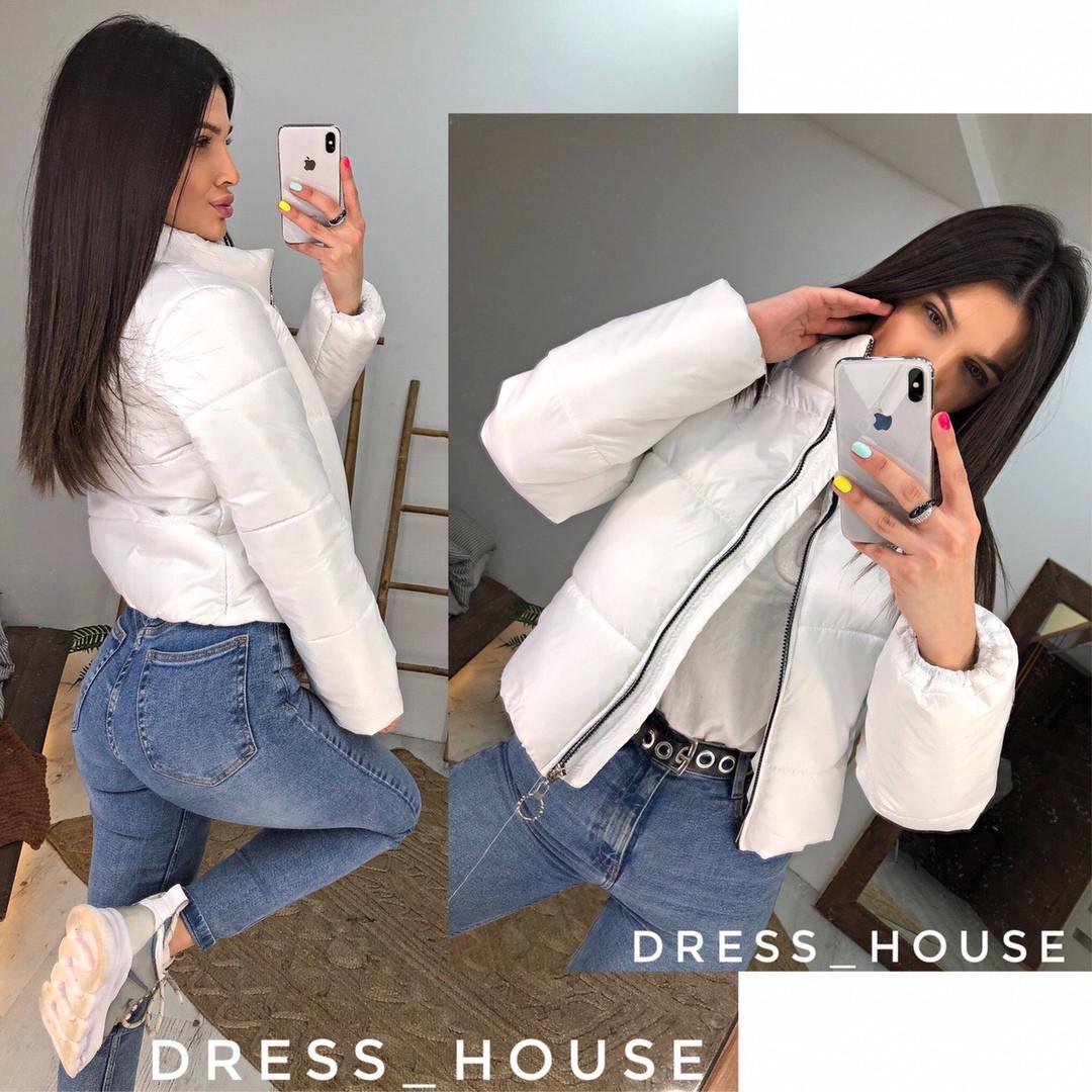 Женская стильная весення укорочённая куртка,белого цвета