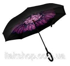 Ветрозащитный зонт обратного сложения Up-Brella (Фиолетовый цветок), фото 3