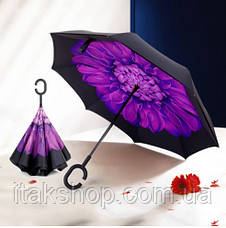 Ветрозащитный зонт обратного сложения Up-Brella (Фиолетовый цветок), фото 2