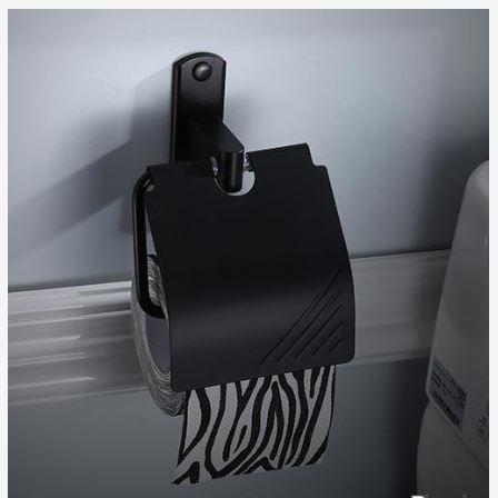 Держатель туалетной бумаги с крышкой черный 0788