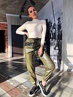 Женские кожаные брюки-джоггеры