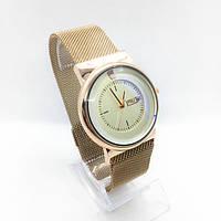 Часы женские наручные в стиле Apple (Эпл), золото с белым циферблатом ( код: IBW307YO )