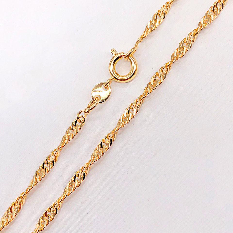 "Цепочка детская Xuping Jewelry 36 см х 2 мм ""Сингапур"" медицинское золото, позолота 18К А/В 5011"