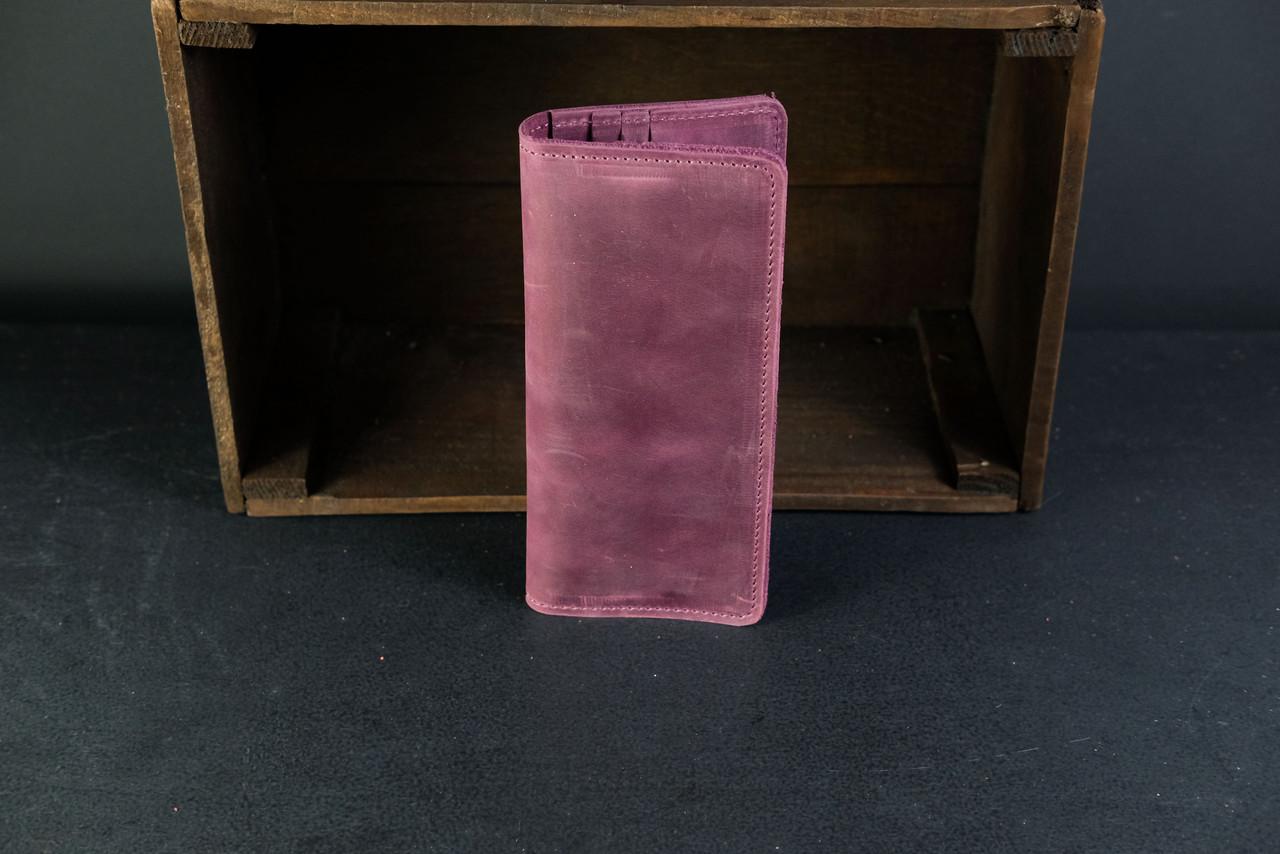Кошелек клатч Лонг на 12 карт Винтажная кожа цвет Бордо