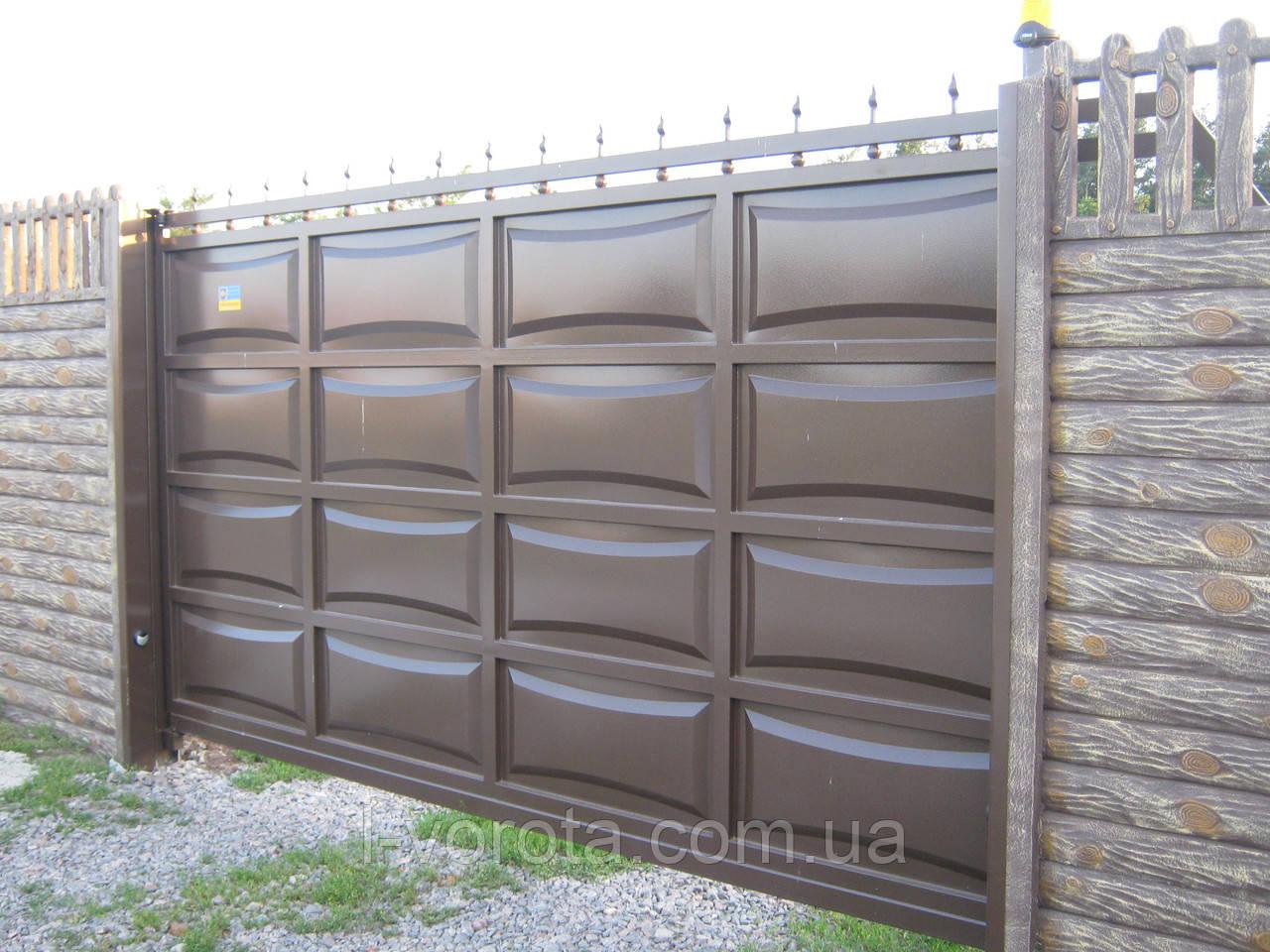 Филенчатые автоматические откатные ворота 4000, 2000 (дизайн линза)