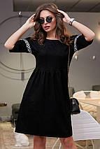 Свободное расклешенное замшево-вельветовое платье (3988-3987-3989 svt), фото 3