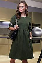 Свободное расклешенное замшево-вельветовое платье (3988-3987-3989 svt), фото 2