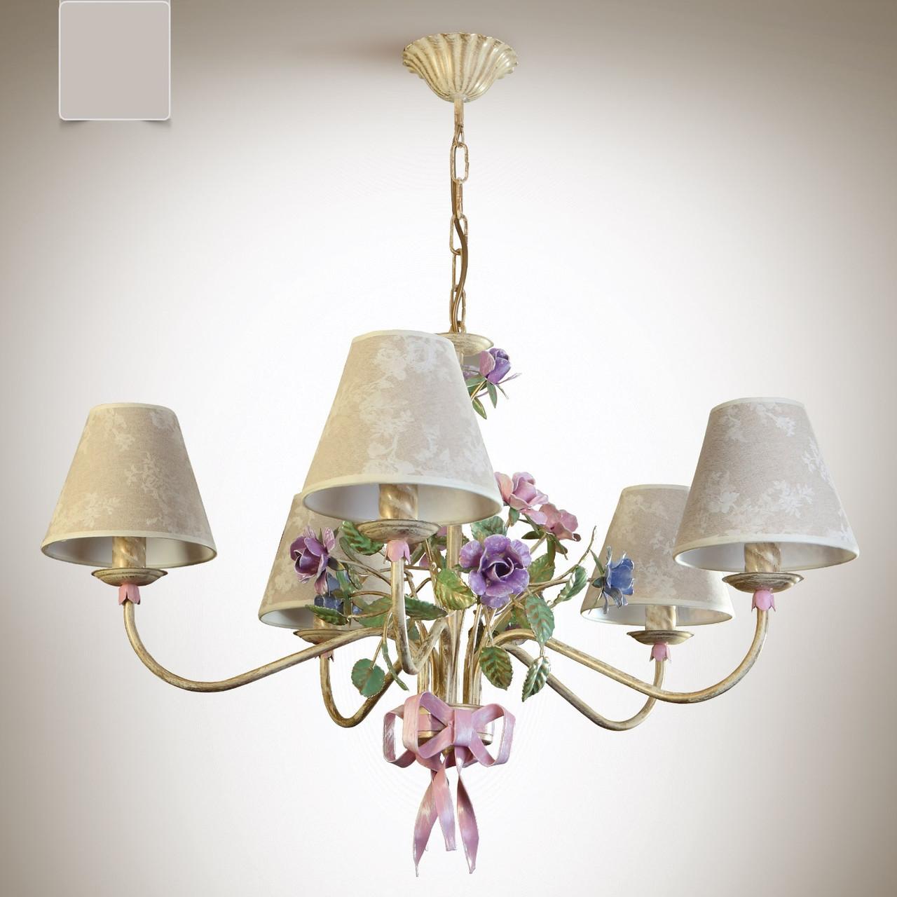 Люстра для большой комнаты, для спальни 5 ламповая с абажурами 6405-2