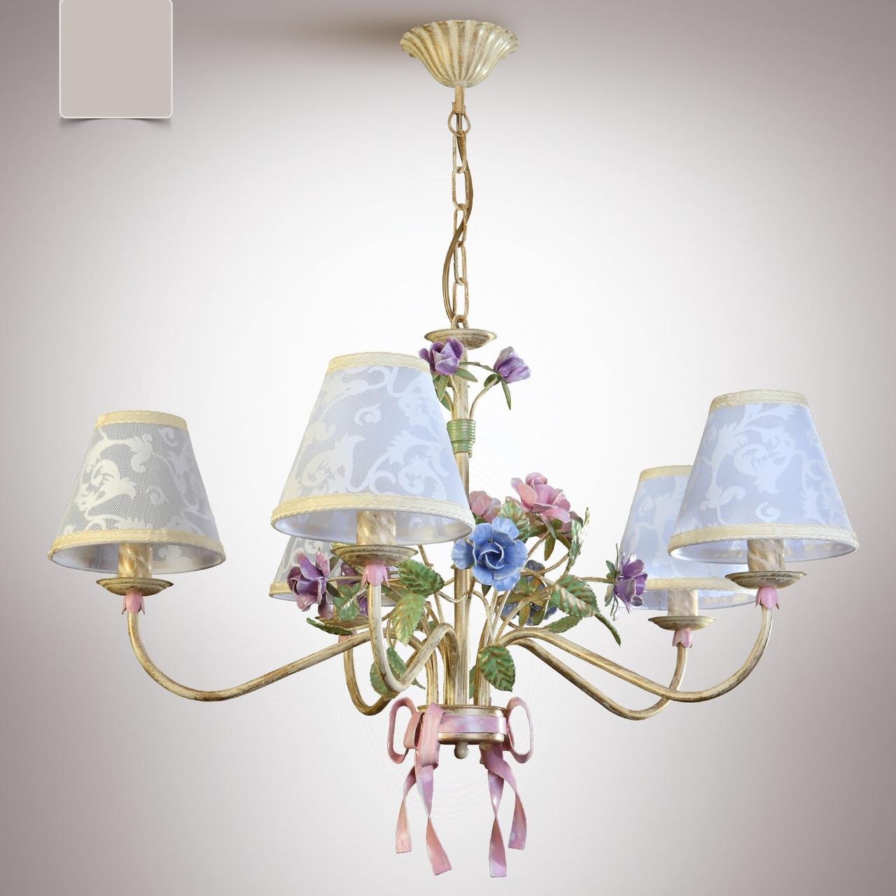 Люстра для большой комнаты, для спальни 5 ламповая с абажурами  6405-3