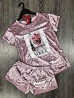 Велюровый пижамный комплект футболка+шорты , молодежные пижамы.