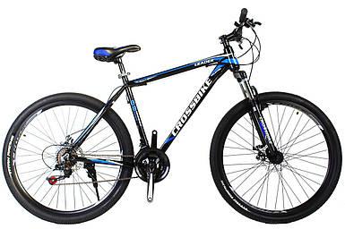 """Горный алюминиевый велосипед 27,5"""" CROSS LEADER Shimano 17"""", черно-голубо белый"""