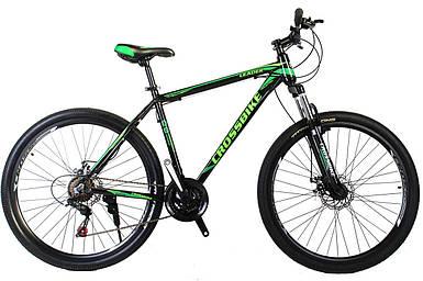 """Горный алюминиевый велосипед 27,5"""" CROSS LEADER Shimano 17"""", черно-темно-зеленый зеленый"""