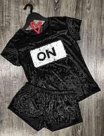 Велюровая черная пижама с пайетками 609 , комплект футболка+шорты