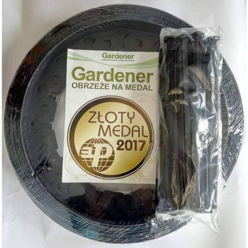 Бордюр під бруківку Gardener коричневий 3,8см х 10м  (+20 коликів)