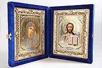 Ікона подвійна Святе сімейство, книжка в синьому бархаті.